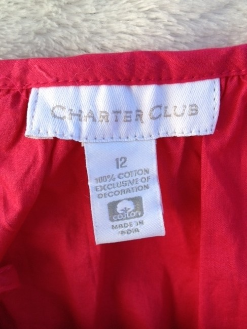 Charter Club Soft Cotton Top hot pink & white