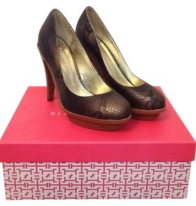 Elaine Turner Leather Reptile Bronze Pumps