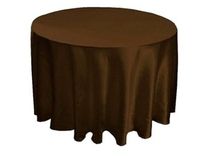 "Brown 15 Satin Round 90"" Tableclothes"