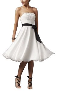 White Chiffon Pleated Bust W/ Sash Dress