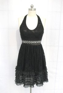 Black Floral Lace Polyester Rose Halter Modern Bridesmaid/Mob Dress Size 6 (S)