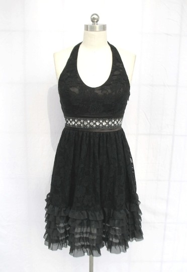 Black Floral Lace Polyester Rose Halter Modern Dress Size 6 (S)