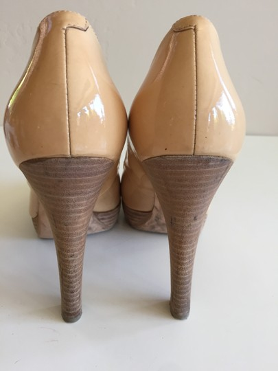 Via Spiga Wood Heel Peeptoe Tan Patent Leather Pumps