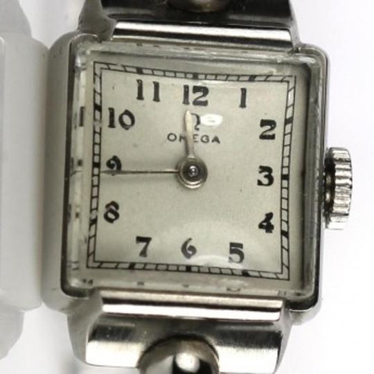 Omega Omega Antique Elegance Silver Square Watch with Textured Band