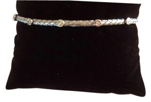Other Basket weave barrel bangle White Gold with lobster clash 0.14 ct white diamonds