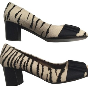 Lanvin Zebra Calf Hair Bow Animal Pattern Black and Creamy White Pumps