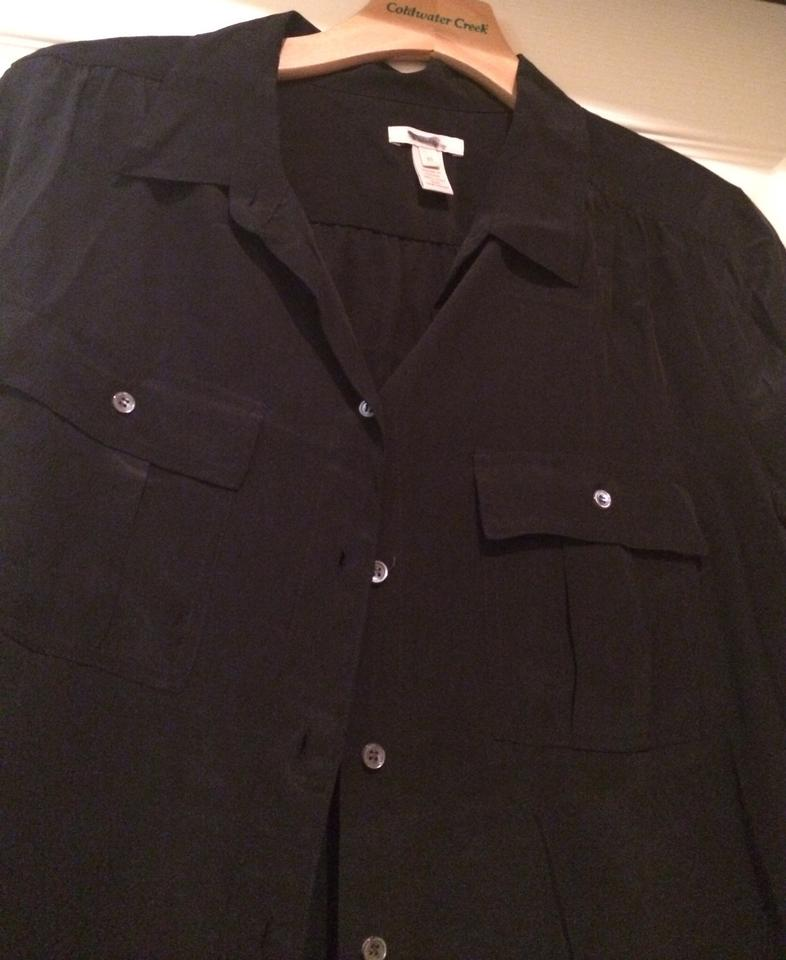 a7c2b8ce907473 J.Crew Black Silk Blythe Shirt M Button Down Blouse Size 10 (M ...
