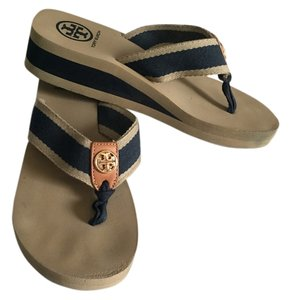 Tory Burch Navy and Tan Sandals