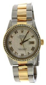 Rolex 2CT 36MM MEN'S ROLEX DATEJUST 2TONE WATCH W/ ROLEX BOX & APPRAISAL