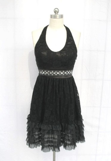 Preload https://item2.tradesy.com/images/black-chiffon-rose-lace-halter-rose-floral-lace-with-sequins-detail-sexy-bridesmaidmob-dress-size-10-557221-0-1.jpg?width=440&height=440