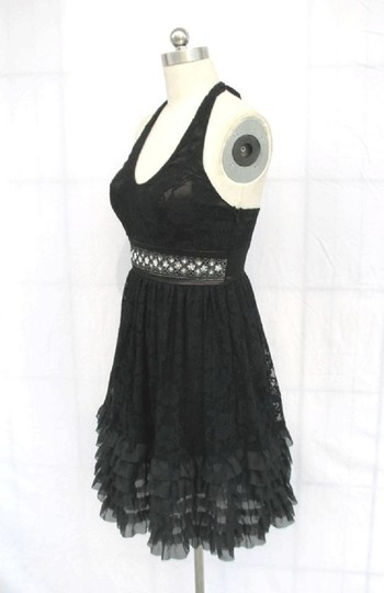 Black Chiffon Rose Lace Halter Rose Floral Lace with Sequins Detail Sexy Bridesmaid/Mob Dress Size 10 (M)