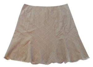 Lane Bryant A-line Plaid Sequins Lace Skirt brown and mauve