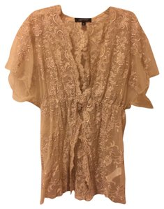 Karen Kane Vintage Look Retro Lace Top Nude