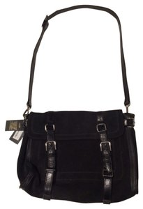 Maje Calfskin Satchel in Black Suede and Leather