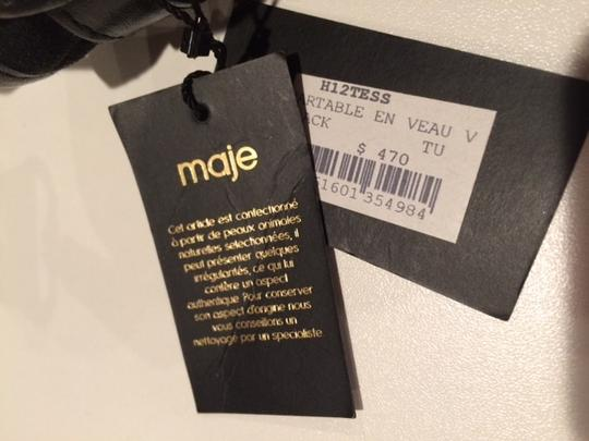 Maje Supple Calfskin Satchel in Black Suede and Leather
