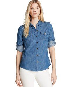 Tory Burch Chambray Denim Summer Button Down Shirt Blue (Chambray)