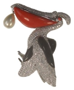 Jarin Jarin Beautiful Coral Onyx CZ Pelican Sterling Silver Brooch with Pearl Drop