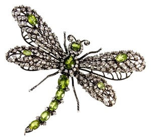 Jarin Jarin Tremble Articulated Dragonfly Sterling Silver Peridot CZ Brooch Pin