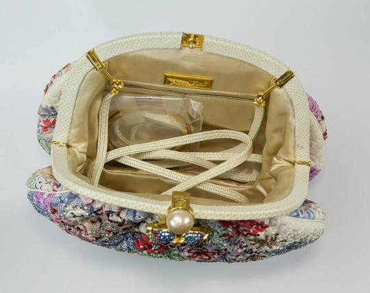 Judith Leiber Quilt Pattern And Snake Skin With Crystal Parrots Clasp Clutch