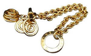 Céline Authentic Celine Vintage Gold Plate Charm Toggle Bracelet