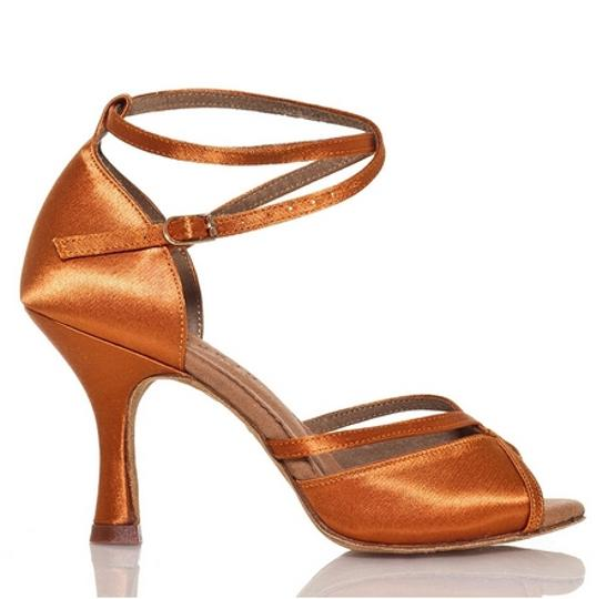 Burju Salsa Ballroom Heel Performance Satin Flared Flexible Support Dark Tan Formal