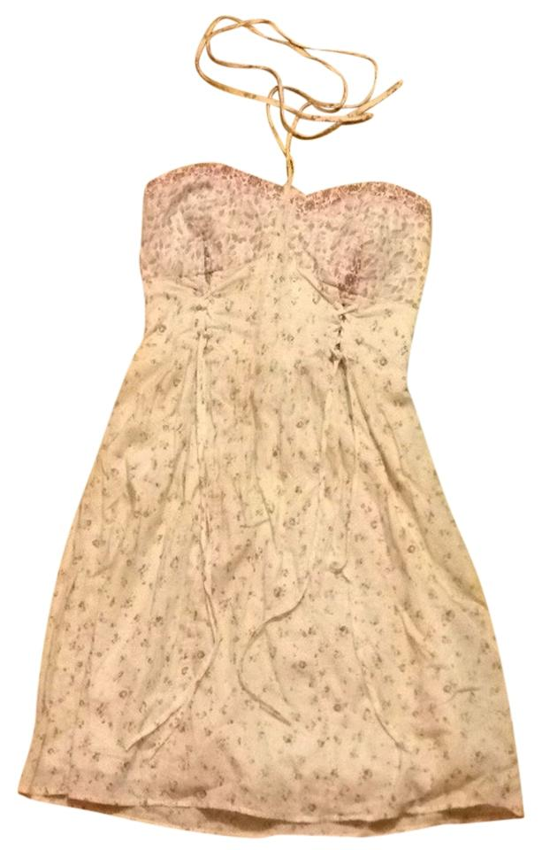 American eagle outfitters cream pink purple flowers summer knee american eagle outfitters short dress cream pink purple flowers halter on tradesy mightylinksfo