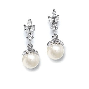Elegant Marquis Crystal Pearl Drop Bridal Earrings