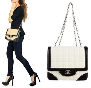 Chanel Quilted Patent Crossbody Silver Tan Shoulder Bag
