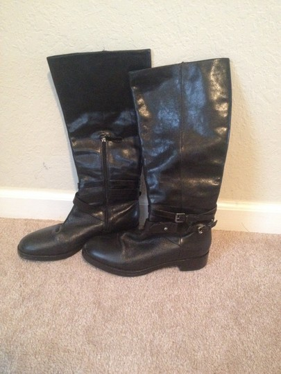 Via Spiga Brown Leather Equestrian Riding Black Boots