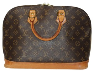 Louis Vuitton Alma Satchels Classic Designer Leather Tote in Brown