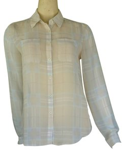 Ann Taylor LOFT Chiffon Plaid Long Sleeve Blouse Career Button Down Shirt Ivory