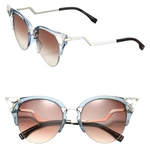 Fendi Fendi 0041/S Crystal 52mm Tipped Cat Eye Sunglasses Transparent Blue/Burgundy Lenses