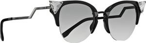 Fendi Fendi 0041/S Crystal 52mm Tipped Cat Eye Sunglasses Black Ruthenium/Grey Grad