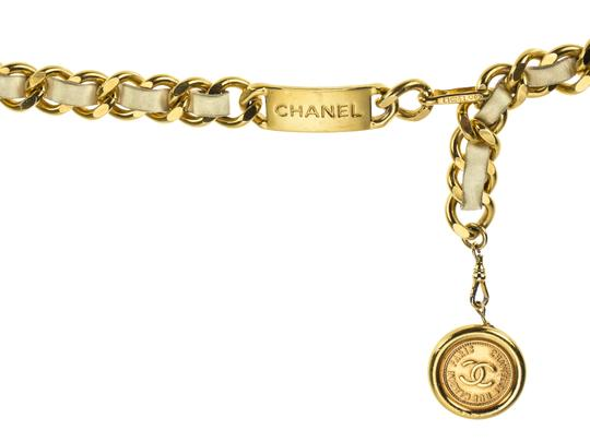 Chanel Chanel White Leather Gold Belt