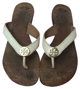 Tory Burch White And Gold Sandals