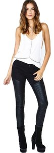 Tripp Nyc Faux Leather Stretch Black Edgy Skinny Jeans-Dark Rinse