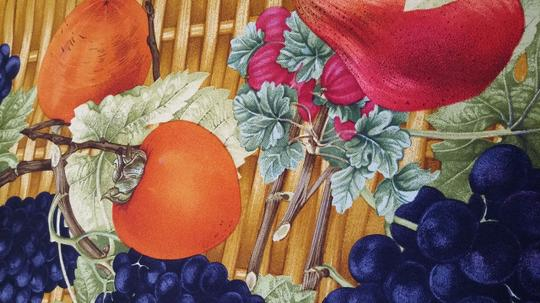 Gucci Gucci Pure Silk Printed Scarf With Fruit in a Basket