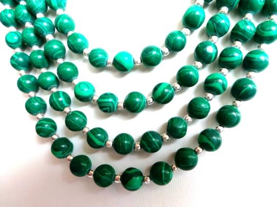 Other Genuine Freshwater Pearls and Malachite Beaded Statement Necklace and Matching Earrings