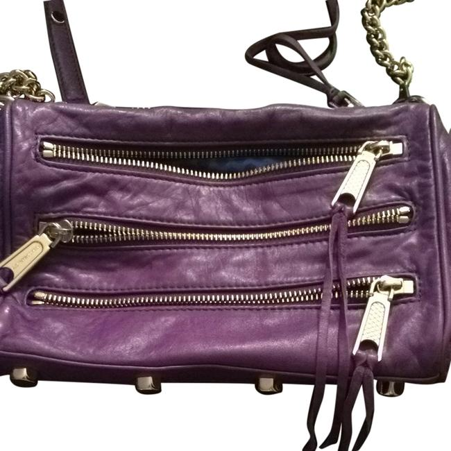 Item - 5 Zip with Chain Purple and Gold Leather Shoulder Bag