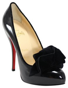 Christian Louboutin Lady Page Velvet Bow Ruffle 38 Patent Leather Italy 7 Black Pumps