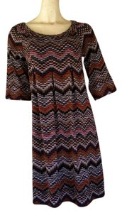 AGB short dress Brown Knit Zig Pull-on on Tradesy