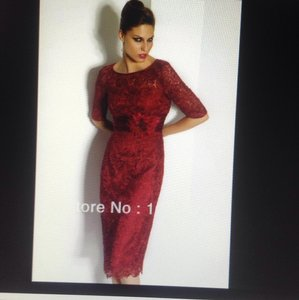 Dark Red/Burgundy Lace Modern Bridesmaid/Mob Dress Size 4 (S)