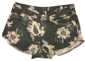Free People Poeple Cut Off Shorts Black Floral