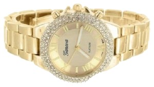 Geneva Womens Gold Tone Watch Platinum Stainless Steel Back Lab Diamonds Geneva Female