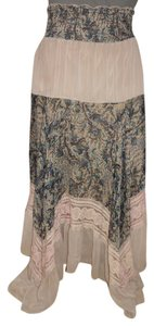 Lapis Bohok Tiered Maxi Skirt taupe, brown, tan & turquoise print