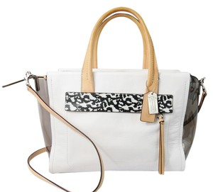 Coach Carryall Satchel in White and black