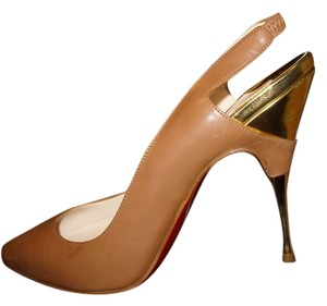 Christian Louboutin Gold Heel Slingback Tan Leather Pumps