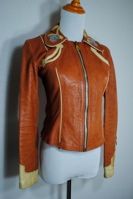 East West Musical Instruments Leather Parrot Coat Xs Hippie 70s 1970s Granny Takes A Trip Nudie Boho Rare Vintage Multicolor Leather Jacket