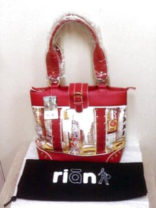 RIANI New Leather Studded Snap Closure Dust Double Straps Xlarge Hobo Tote City Art Shoulder Bag