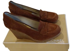 Michael Kors Rory Platform Walnut Suede Brown Wedges